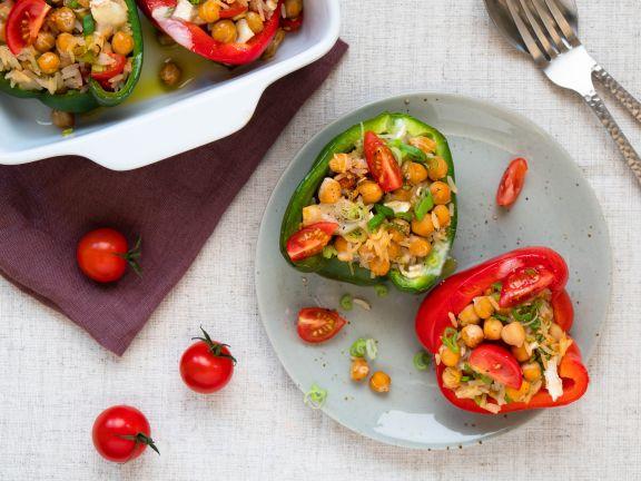 Gefüllte Paprika mit Reis und Kichererbsen