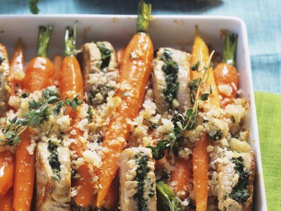 Gefüllte Schweinemedallions mit Karotten und Parmesan überkrustet