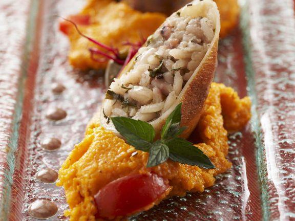 Gefüllte Tintenfische mit Tomatenpolenta