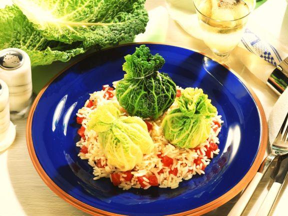 Gefüllte Wirsingblätter mit Reis