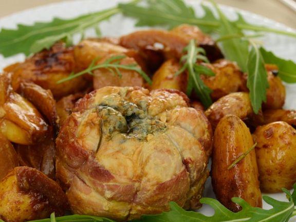 Gefüllter Kalbsbraten mit Kartoffeln