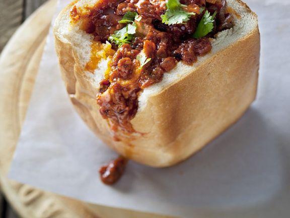 Gefülltes Weißbrot mit Curry aus Südafrika