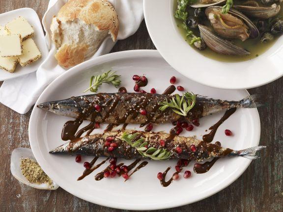 Gegrillte Makrelen mit Grenadinesoße