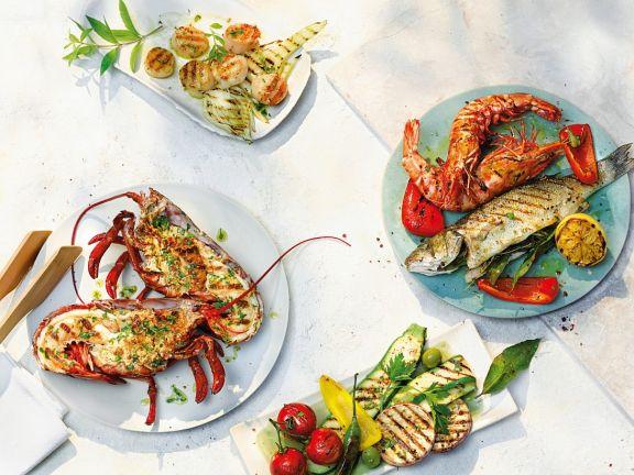 Gegrillte Meeresfrüchte