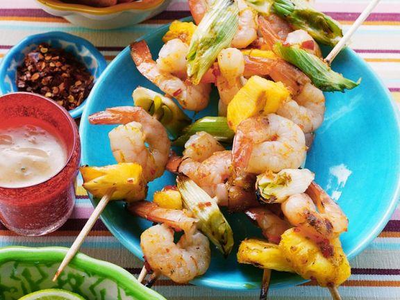 Gegrillte Shrimps-Ananasspieße
