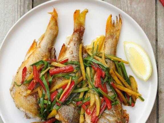 Gegrillter Barsch mit Gemüse-Julienne