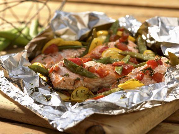 Gegrillter Lachs Mit Gemuse Rezept Eat Smarter