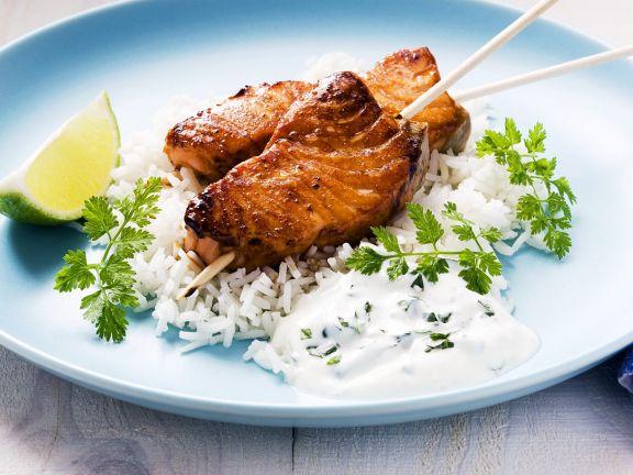 Gegrillter Lachs mit Reis