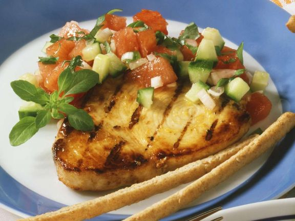 Gegrillter Schwertfisch mit Melonensalat