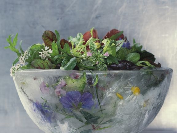 Gemischter Salat mit Essblüten und Wildkräutern
