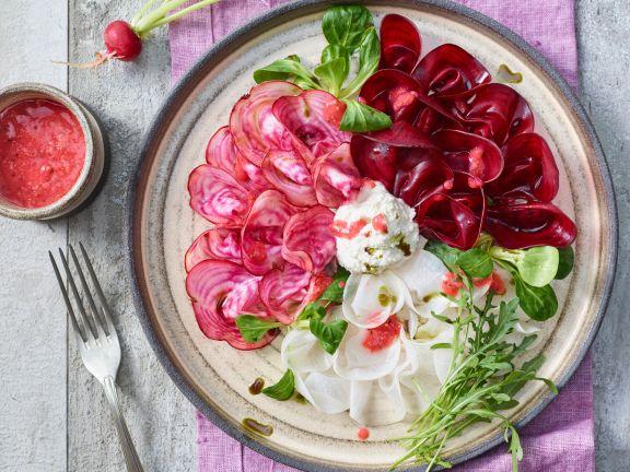 Gemüse-Carpaccio mit Cashewcreme