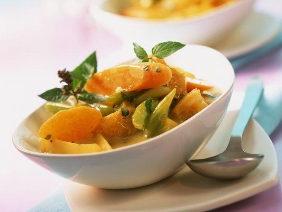 Gemüse-Clementinen-Curry mit Minze