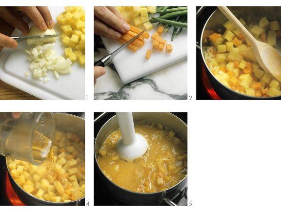 Gemüse-Creme-Suppe zubereiten