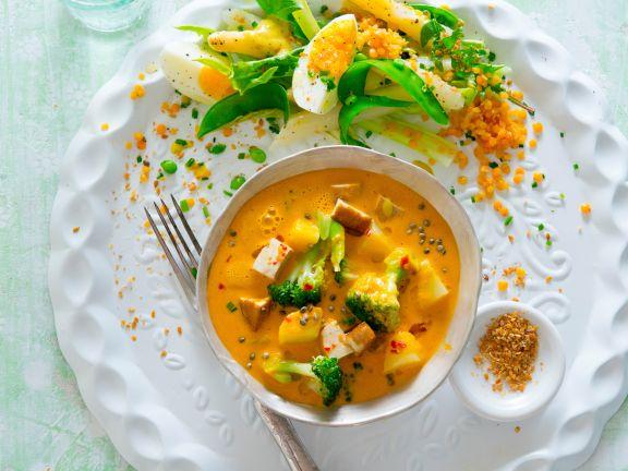 Gemüse-Curry mit Tofu und Spargel-Linsen-Salat