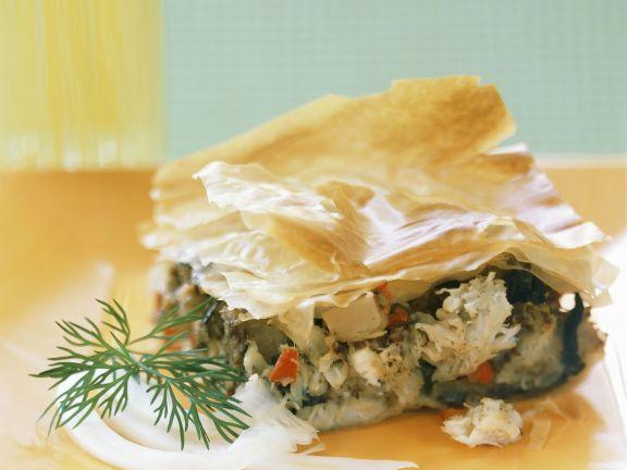 Gemüse-Fisch-Gratin mit Filoteig