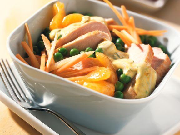 Gemüse-Geflügelsalat mit Mandarinen