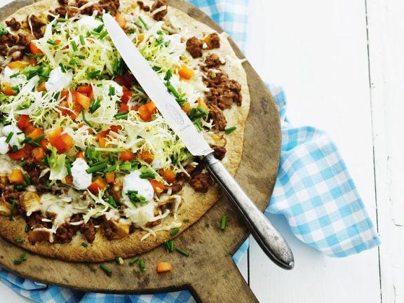 Gemüse-Hackfleischpizza