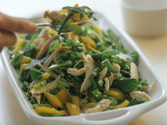 Gemüse-Hähnchen-Salat mit Minze