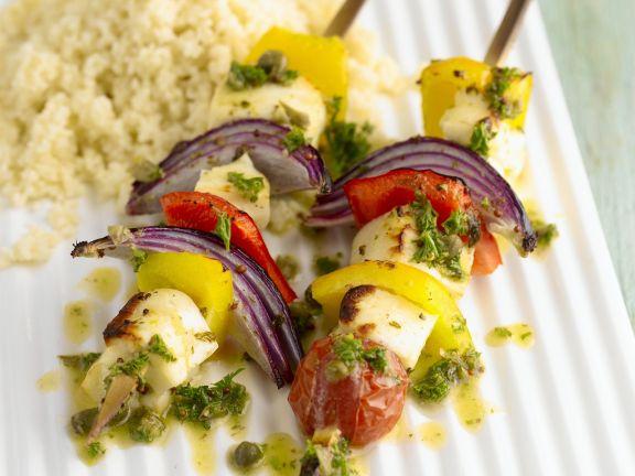 Gemüse-Halloumi-Spieße