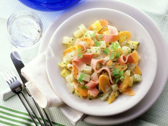 Gemüse mit Bechamelsauce und Schinken