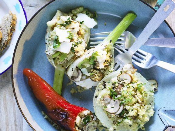 Gemüse mit Couscous-Pilz-Füllung