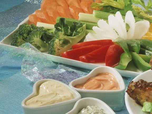 Gemüse mit Dips