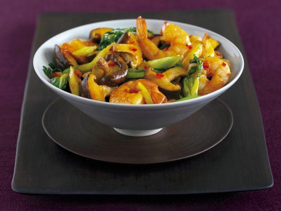 Gemüse mit Garnelen