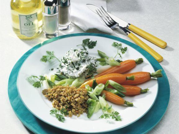 Gemüse mit Grünkern und Kräuterquark