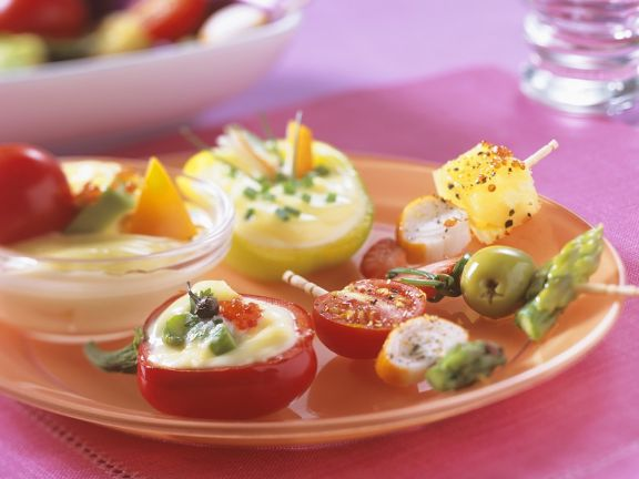Gemüse mit Mayonnaisedip