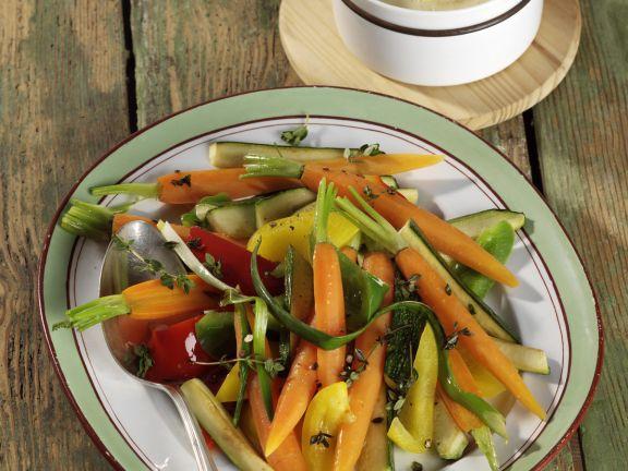Gemüse-Mix mit Polentacreme