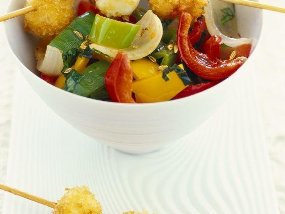Gemüse-Mozzarella-Spieße