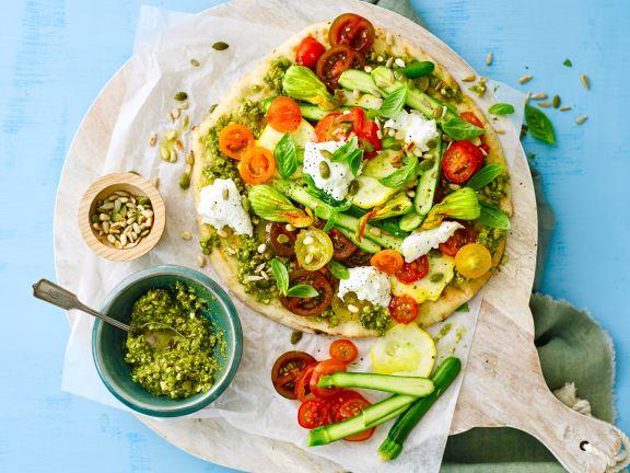 Gemüse-Pizza mit Dinkel-Vollkornteig