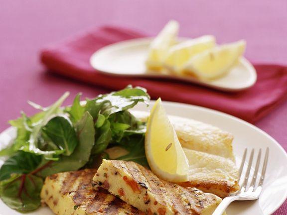Gemüse-Polentanschnitten mit Fisch