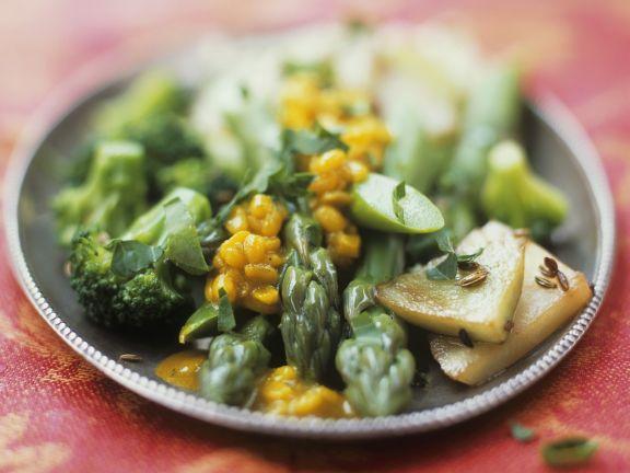 Gemüse und Soße aus Mungbohnen