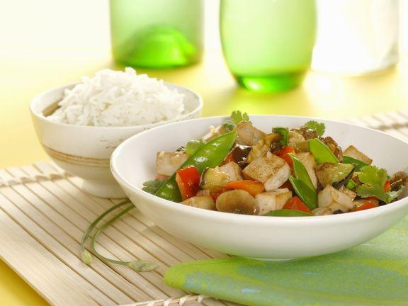 Gemüse und Tofu aus dem Wok