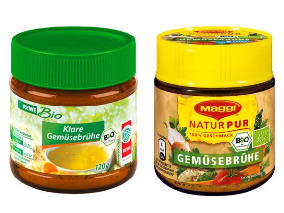 Bio Gemüsebrühe von Maggi GmbH und Bio Klare Gemüsebrühe von REWE Markt GmbH