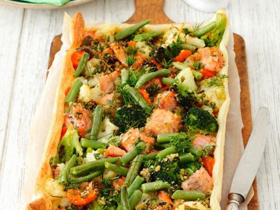 Gemüsekuchen mit Lachs