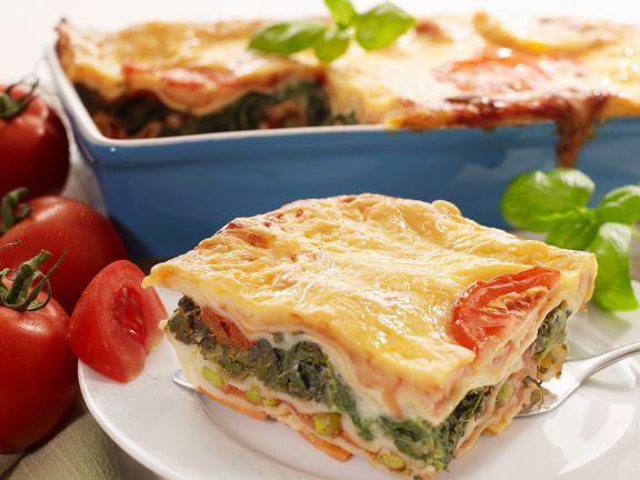 Gemüselasagne mit Spinat