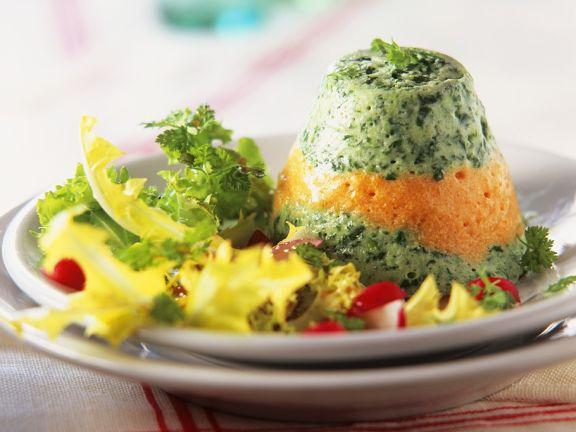 Gemüsemousse mit Blattsalat