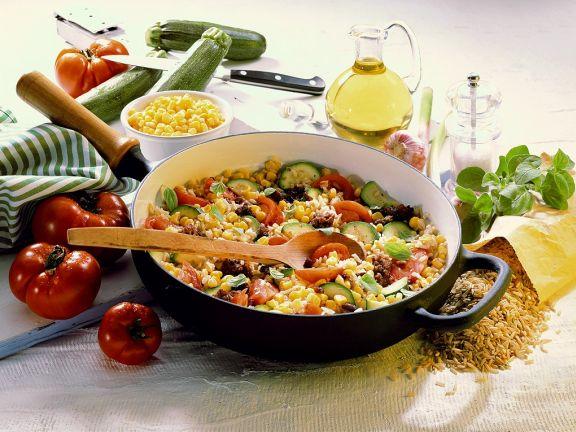 Gemüsepfanne mit Tofu und Reis