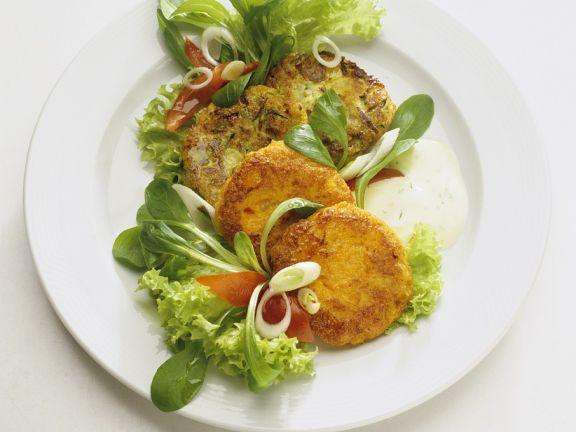 Gemüsepuffer mit Joghurtdip