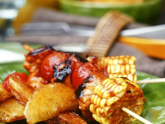 Gemüsespieße mit Kartoffeln