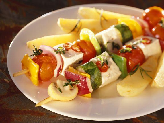 Gemüsespieße mit Tofu