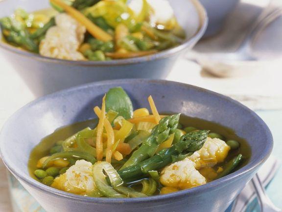 Gemüsesuppe mit Kabeljau