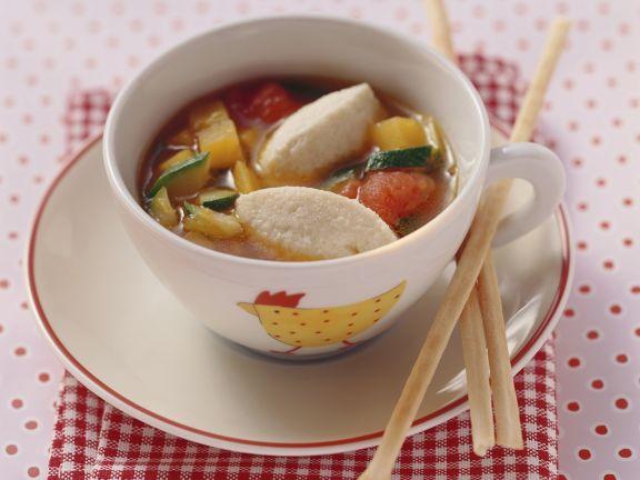 Gemüsesuppe mit Quarknockerl