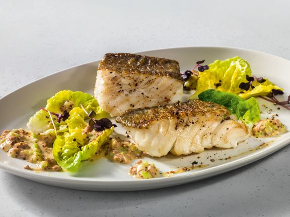 Geräucherter Kabeljau mit Champignon-Sellerie-Remoulade