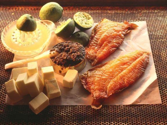 Geräucherter Stör mit Kaviar auf Limettensauce