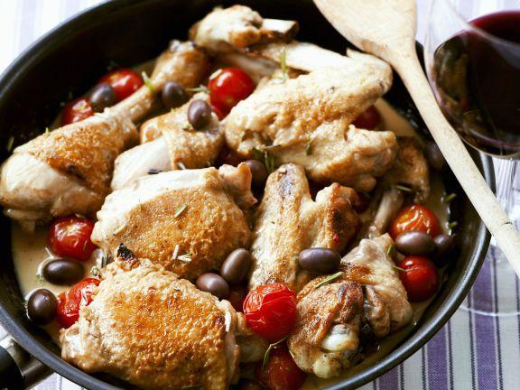 Geschmortes Hähnchen in Weißweinsacue