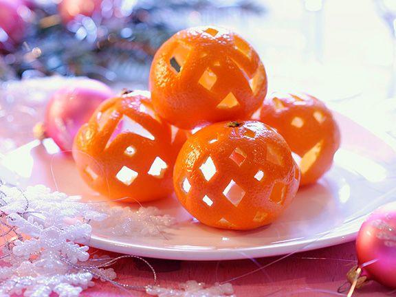 Geschnitzte Orangenschalen