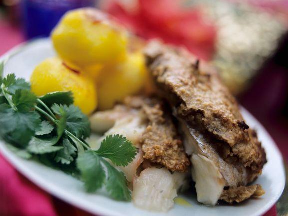 Goldbrasse mit Nusskruste und Kartoffeln